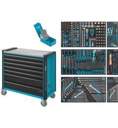 Servante-d'atelier-avec-3-tiroirs-remplis-Assortiment-d'outils-340-pièces