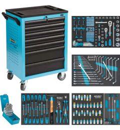 Servante-d'atelier-avec-4-tiroirs-remplis-Assortiment-204-pièces