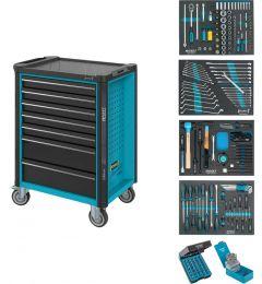 Servante-d'atelier-avec-4-tiroirs-remplis-Assortiment-d'outils-220-pièces